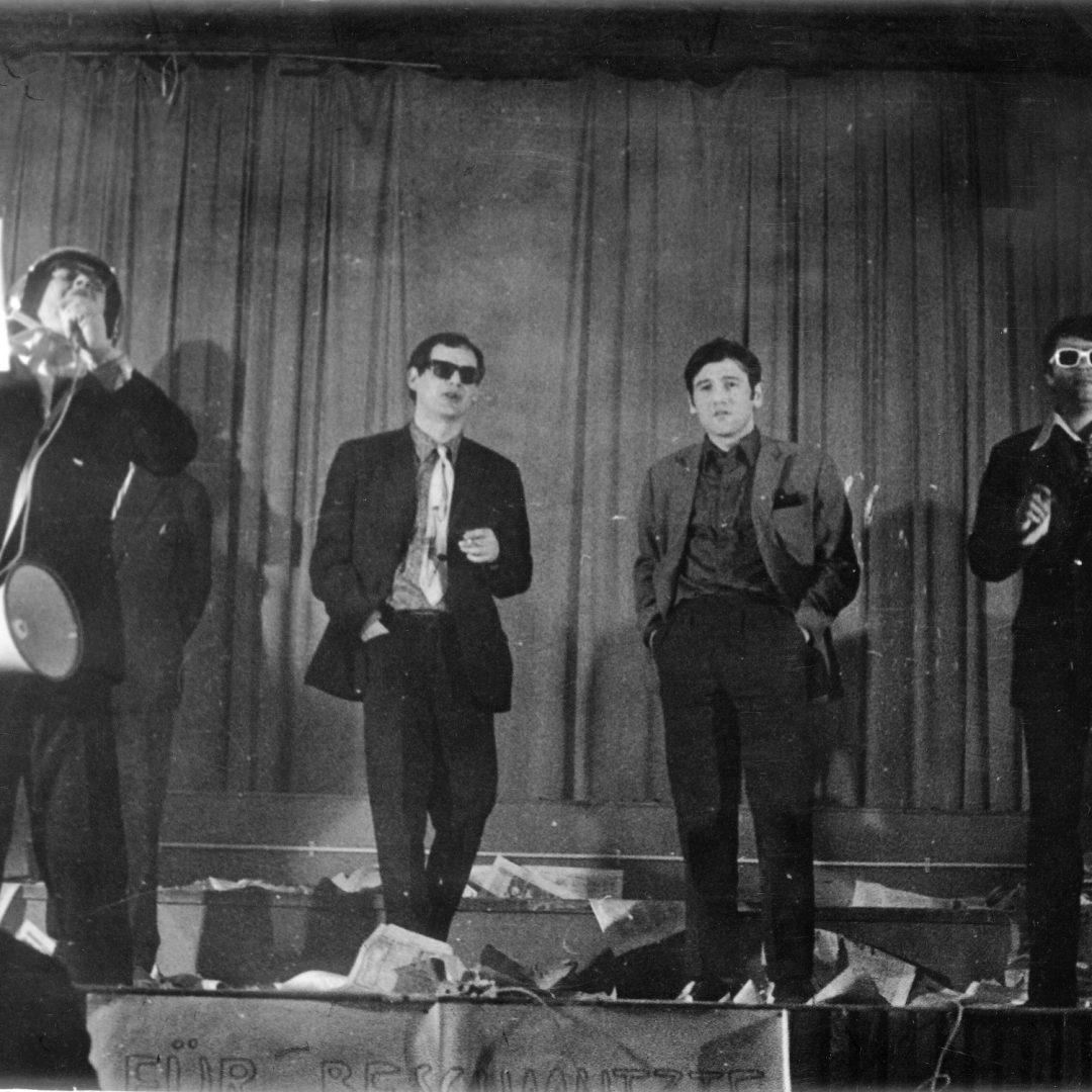 »Zockfest«, 21. 4. 1967, Gasthaus Grünes Tor, Wien,  Oswald Wiener, Gunter Falk, Peter Weibel, Wolfgang Bauer