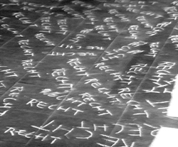 Das Recht mit Füßen treten, 1972 Video, s/w[Erste Performance: Studientag, Stift Melk, 23.05.1968]