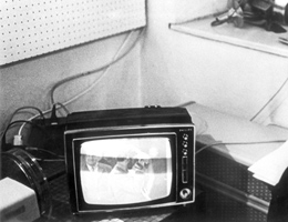 Peter Weibel, »Publikum als Exponat«, »Multi Media 1«, Galerie Junge Generation, April 1969,  Installationsansicht.